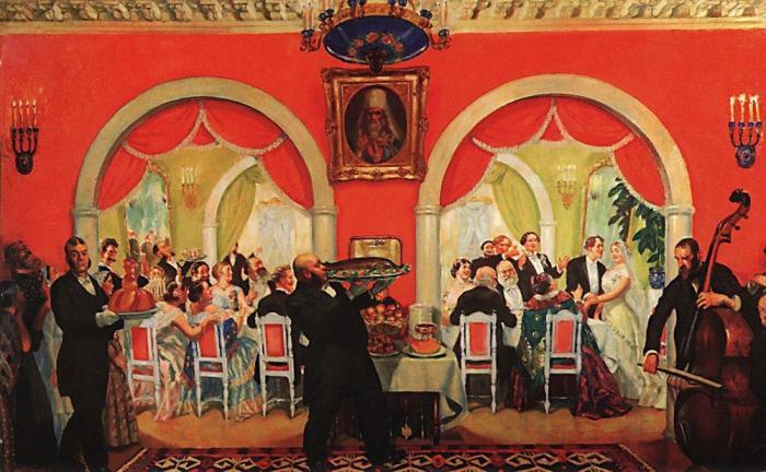 Любовь купцов к широким застольям отразил Б.Кустодиев в картине «Свадебный пир»