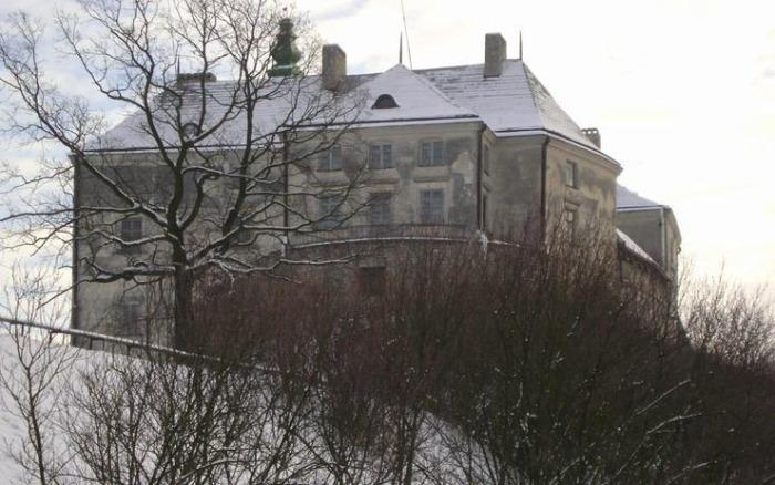 С трёх сторон замок был окружён глубоким рвом.