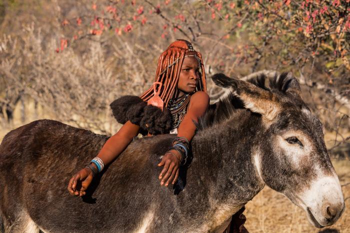 Девочка племени химба с традиционными дредами на голове. /Фото:Tariq Zaidi / ZUMA Press