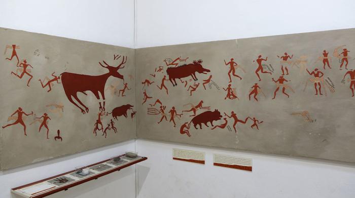 Древнее изображение сцены охоты, обнаруженное археологами. На людях повязки из шкур анатолийского тигра. /Фото:marmara-calypso.livejournal.com