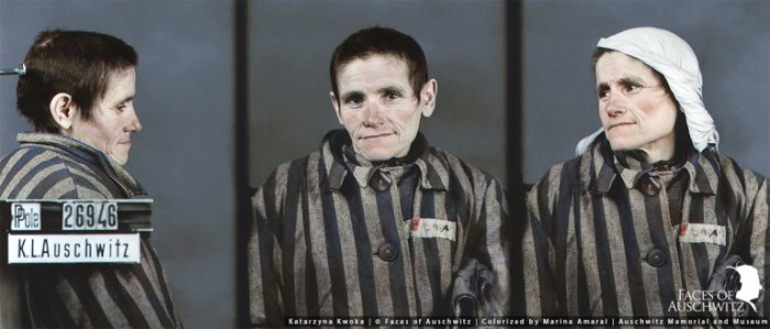 Катаржина Квока, мама Чеславы, при поступлении в Освенцим. Раскрашенное фото.