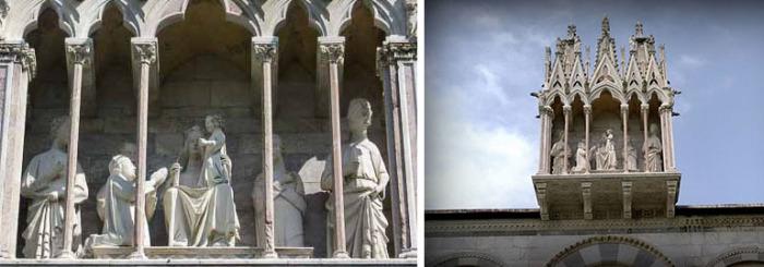 Табернакль над входом, выполненный Джованни Пизано. В глубине расположены скульптуры святых и Девы Марии с младенцем Иисусом, на коленях перед которым стоит донатор.
