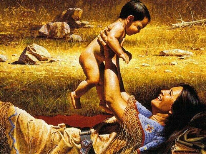 Детей воспринимали как дар и только они, по мнению индейцев, могли умилостивить богов. Худ. Alfredo Rodriguez