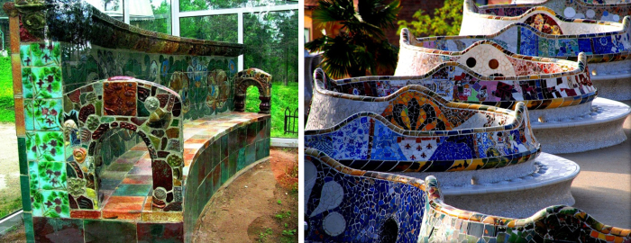 Для сравнения: скамейка Врубеля и скамейка Гауди. /Фото:artchive.ru
