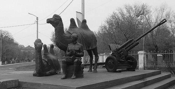 «Мы победили!» - памятник бойцам 902-го стрелкового полка и их помощникам Мишке и Машке (г. Ахтубинск). /Фото:moya-planeta.ru