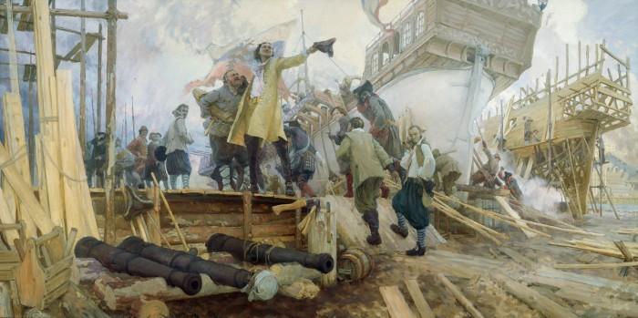 Спуск галеры «Принципиум» на воронежской верфи 3 апреля 1696 года. Худ. Ю. Кушевский