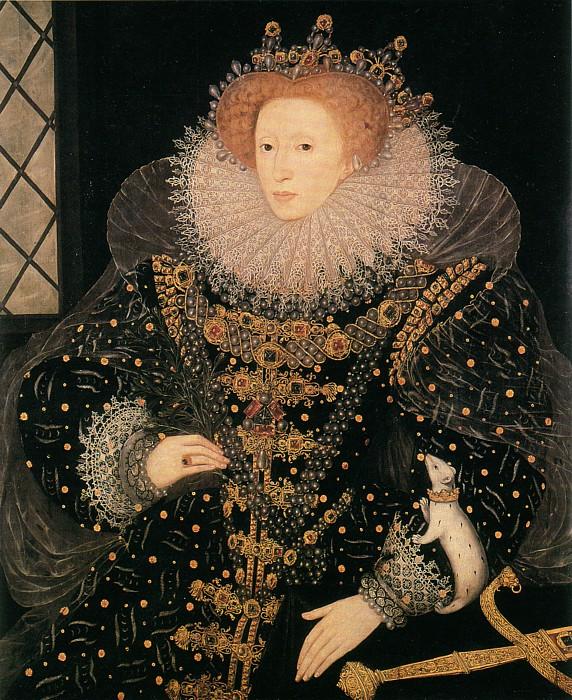 «Портрет с горностаем» (символом королевской власти), 1585, худ. Николас Хиллиард. Hatfield House, Hatfield UK