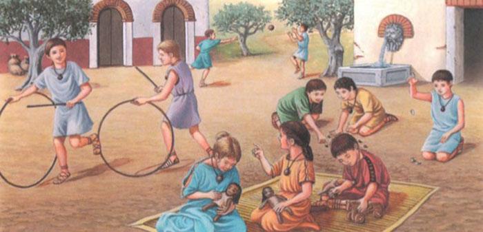 Древнеримские дети на прогулке. Современный рисунок.