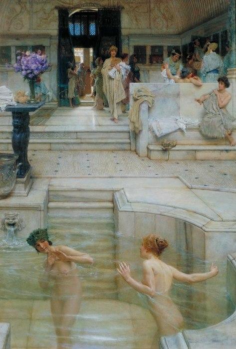 Купальщицы в римской бане. /Худ. Л.Альма-Тадем