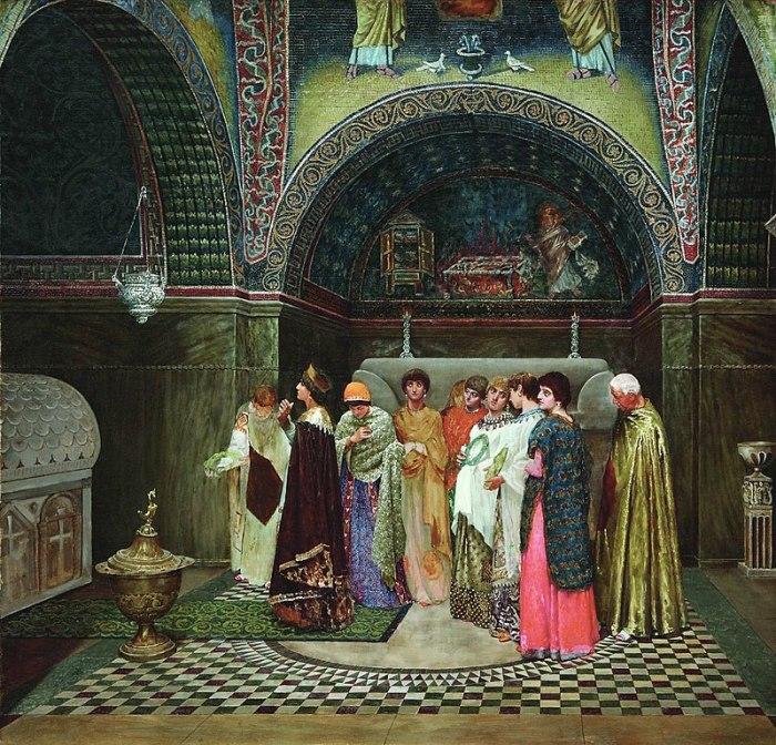 Утренний выход византийской царицы к гробницам своих предков. Худ. В. С. Смирнов, 1880-е