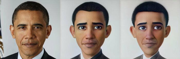 Реальный Обама стал мультяшным.