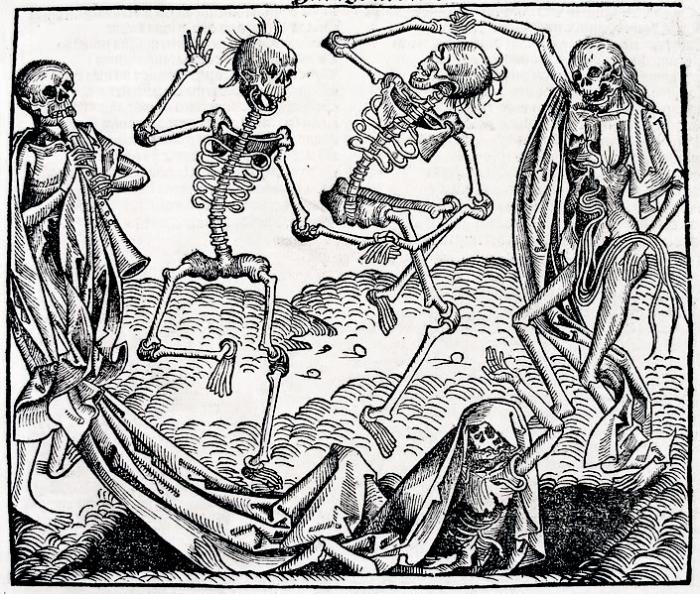 Пляска смерти. Популярный аллегорический сюжет в живописи средних веков. Худ. Михаэль Вольгемут, 1493