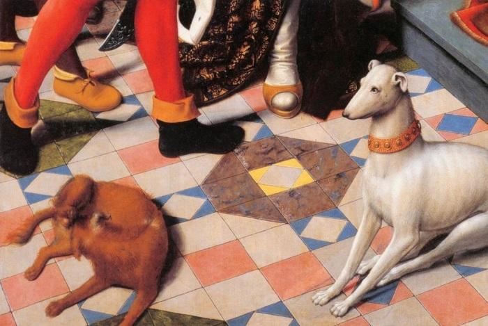 Собаки аристократии на диптихе Давида Герарда «Суд Камбиса». / Музей Гронинге, Бельгия.