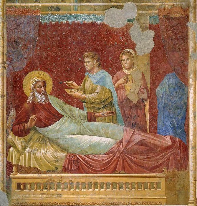 Исав перед Исааком. Фреска работы Джотто (ок. 1295 г.). Ассизи, церковь Сан Франческо, Базилика св. Франциска.