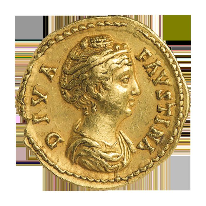 Портрет Фаустины Старшей на золотой монете/ Фото: Международный нумизматический клуб