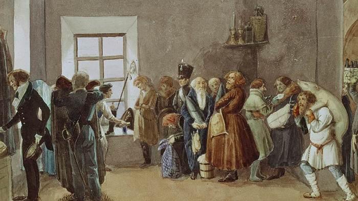 «Передняя частного пристава накануне большого праздника»./ Худ. Павел Федотов