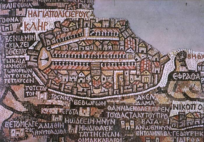 Красивая и информативная мозаичная карта из Мадабы. /Фото:wikipedia.org