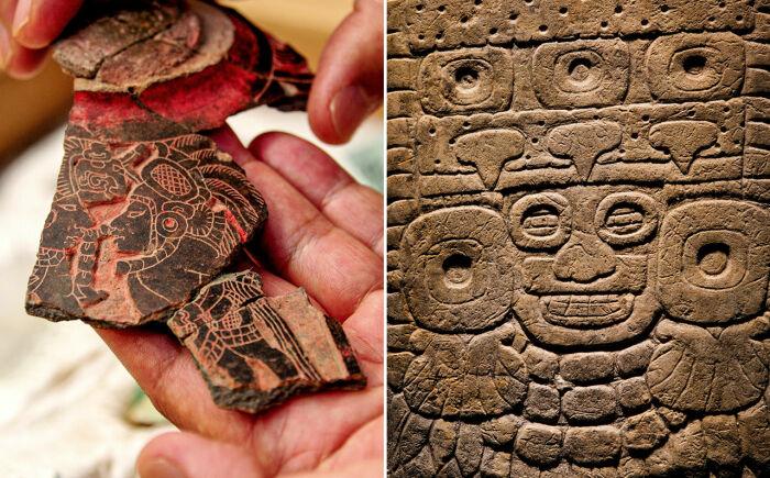 Керамика c натуралистическими рисунками майя (слева) использовалась на празднике в Теотиуакане. /Фото: Кортесия/NOTIMEX/NEWSCOM; Кеннет Гаррет