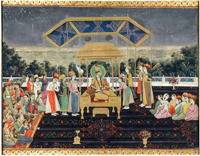 Надир-Шах на Павлиньем троне после завоевания Дели. Индийская миниатюра 1850 года / Музей искусств в Сан-Диего.