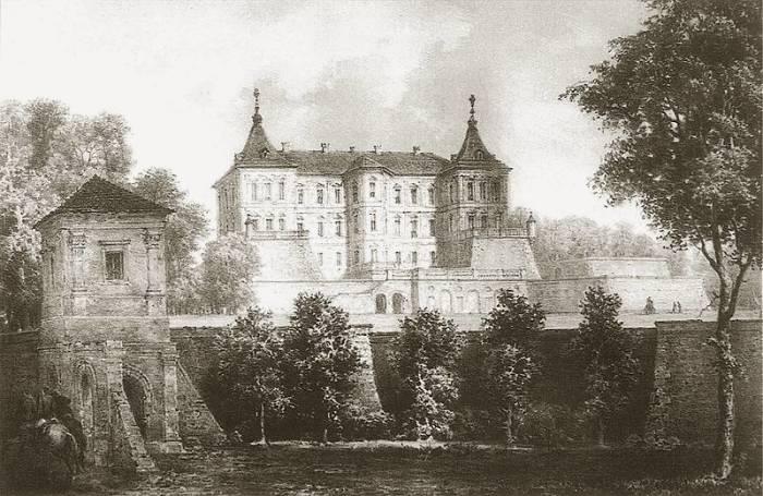 Вид на Подгорецкий замок, XIX век. Худ. Наполеон Орда.
