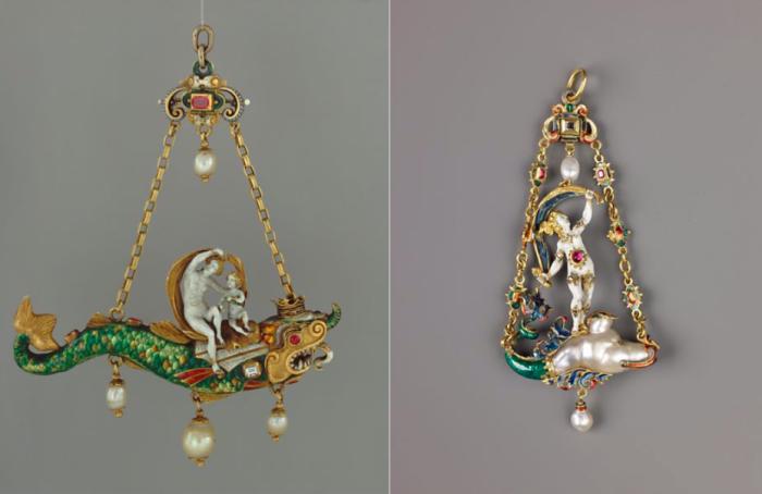 Кулон с Венерой и Купидоном на Дельфине, ок. 1865-90 (слева) и кулон с Фортуной, 1859-1907.