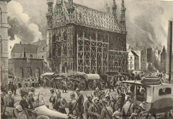 Эскиз ратуши и горящей площади; август 1914 года, рис. Хильды Вербовен. / Фото: архив г. Лёвен