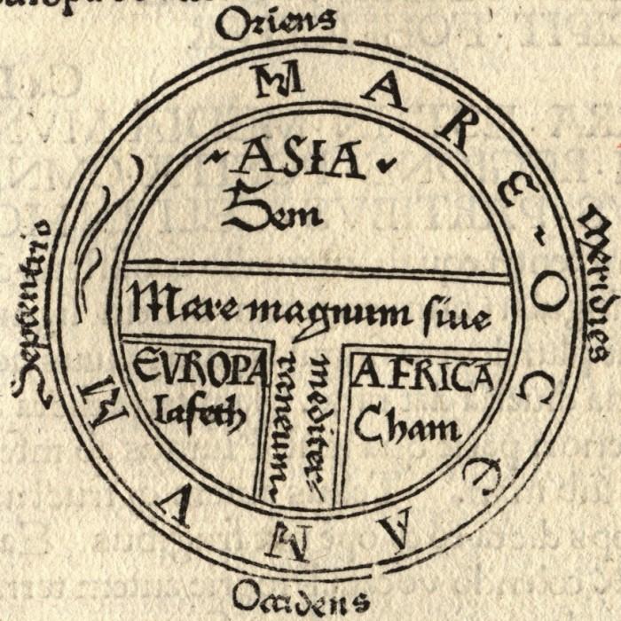 Схематично и доступно: Т - море, О - океан. Историки называют такой тип карт «Т-О». /Фото:noosphere.ru/
