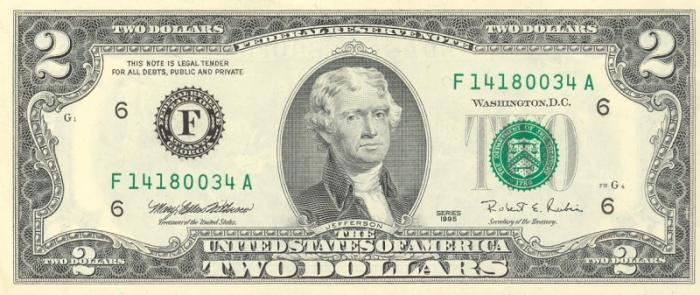 Изображение президента на двудолларовой купюре.