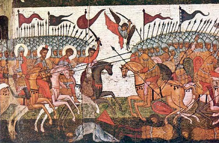 Битва новгородцев и суздальцев в 1170 году, фрагмент иконы.