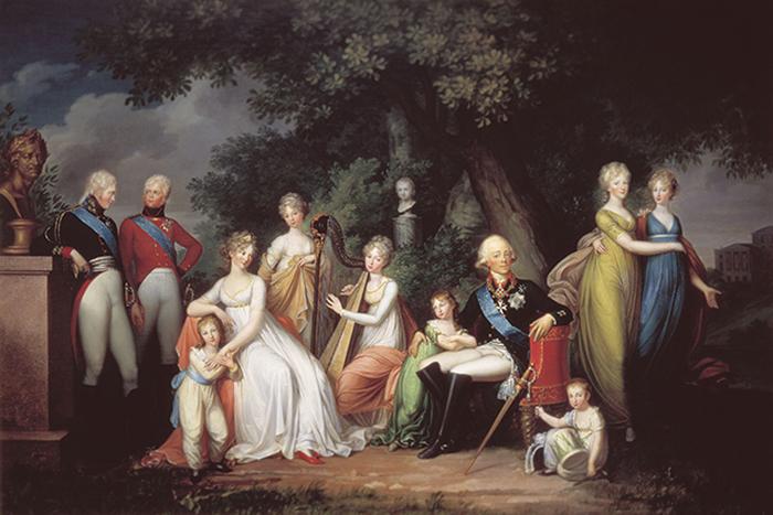 Портрет Павла I с семьей. Худ. Герард фон Кюгельген, 1800