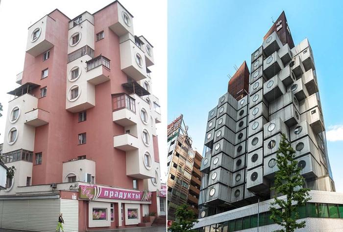 На создание Дома-скворечника советского архитектора натолкнуло творчество японского коллеги (фото слева). /Фото:birdinflight.com