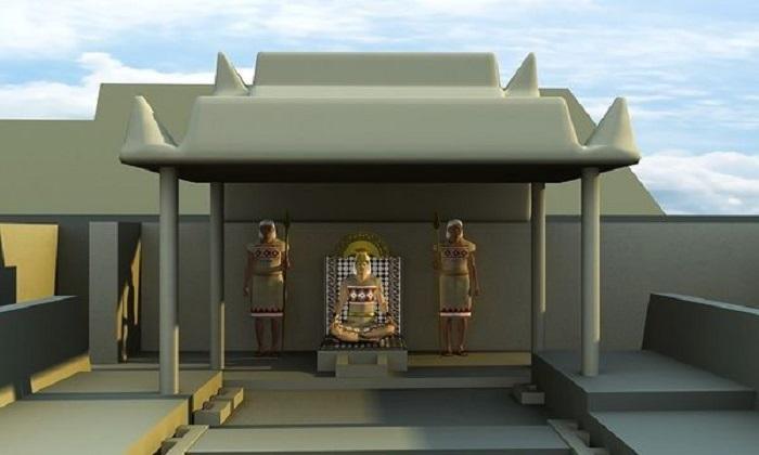 Король на троне в  Тукуме, реконструкция. Guida ARCHEO