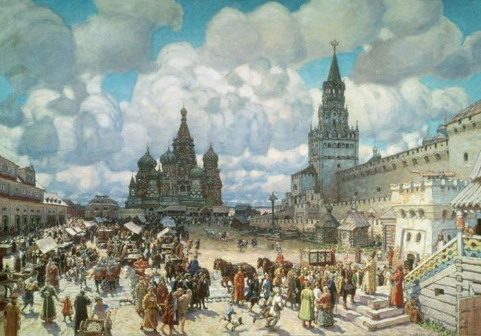 А.Васнецов. Красная площадь при царе Алексее Михайловиче. Если приглядеться, можно увидеть на башне часы.