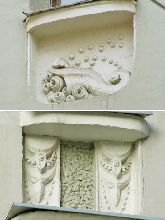 Загадочные фигуры на фасаде/Фото:peshegrad.ru