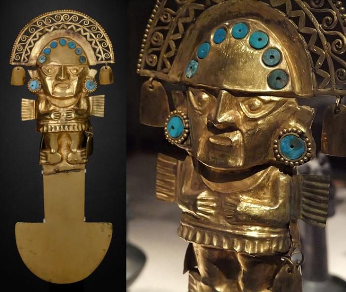 Туми (священный нож) из золота, украшенный бирюзой. /Фото:vicuna.ru