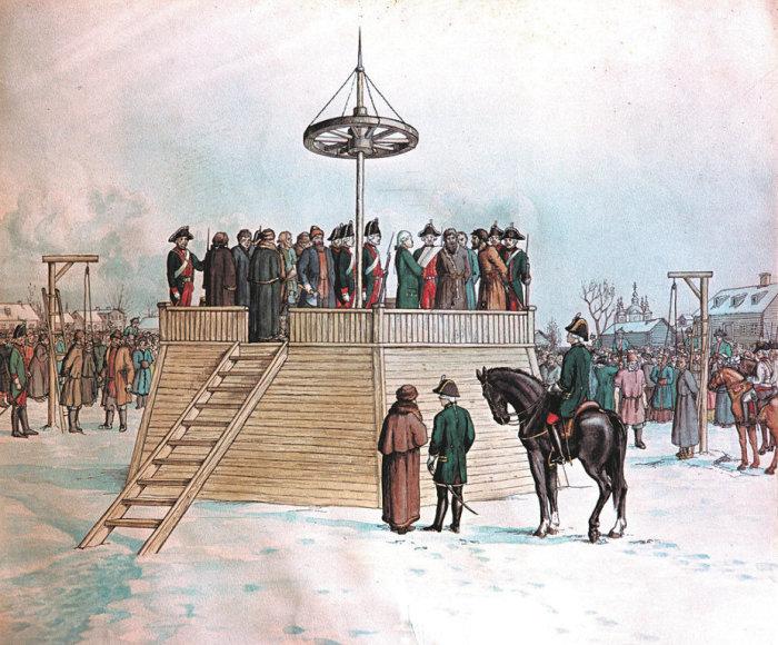 Казнь Емельяна Пугачева. Рисунок свидетеля событий А. Болотова