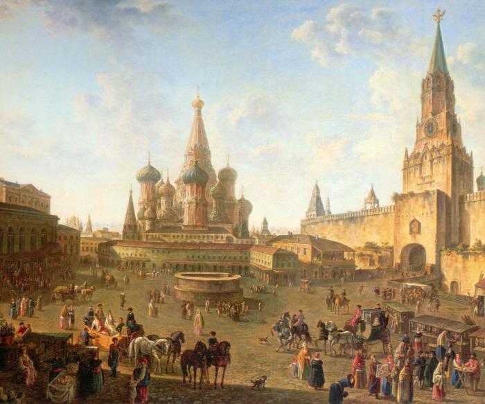 Ф.Алексеев. Красная площадь в Москве. 1801 г.