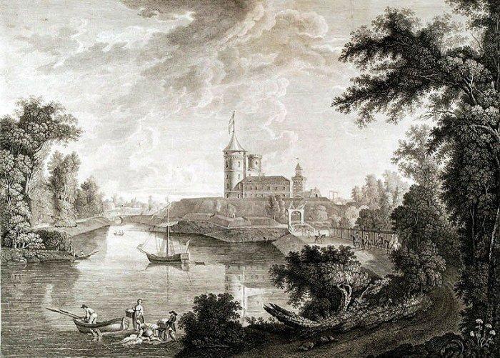 Вид крепости города Павловска со стороны озера. Рис. С. Щедрин, грав. И. Ческий