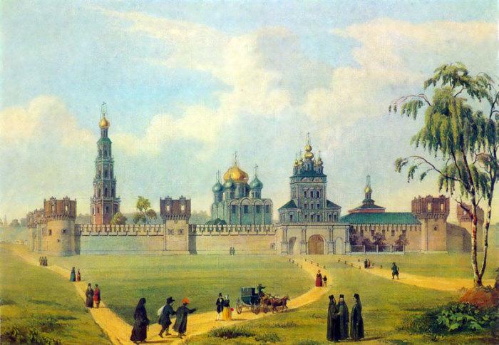 Ш. К. Башелье.  Вид Новодевичьего монастыря.