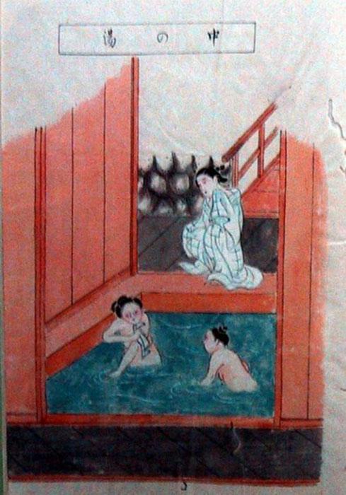 Онсэн. Картинка из путеводителя 1811 года.