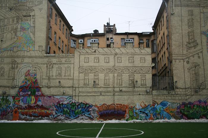 Обратная сторона дома (брандмауэр). /Фото:citywalls.ru
