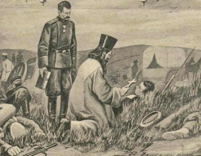 Священник напутствует раненного. Русско-японская война 1904—1905 гг. /Фото:t-i.ru