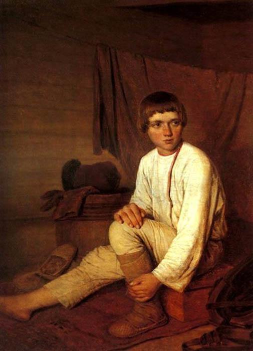 К. Зеленцов, VIII в. Мальчик-крестьянин, надевающий лапти