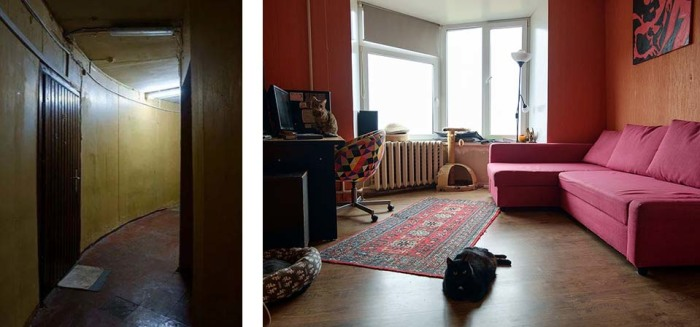 Общий коридор и комната в одной из квартир. /Фото:the-village.ru