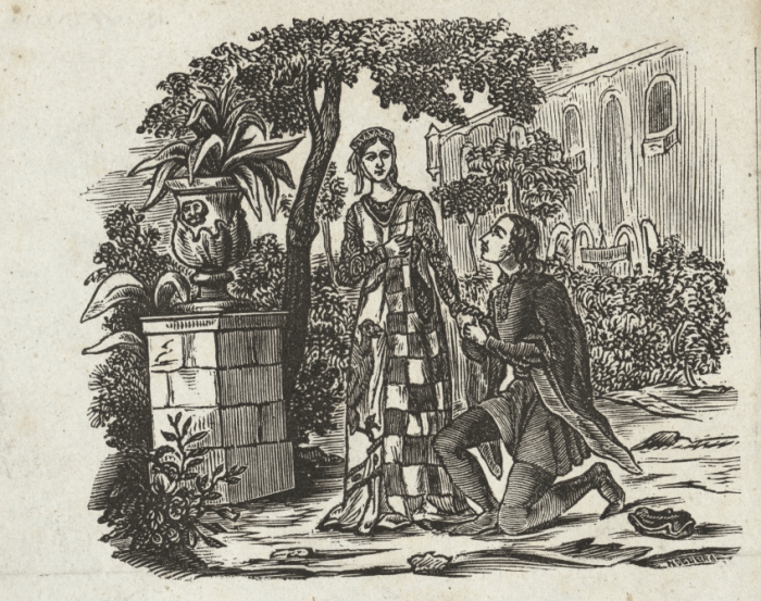 «Влюбленные из Теруэля». Гравюра XIX века