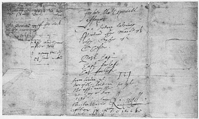 «Висельное» письмо времен королевы Елизаветы. В центральной части можно различить знак срочности - виселицу