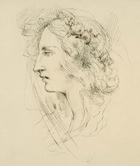 Рисунок Циприана Норвида «Мария Калергис с розами в волосах»
