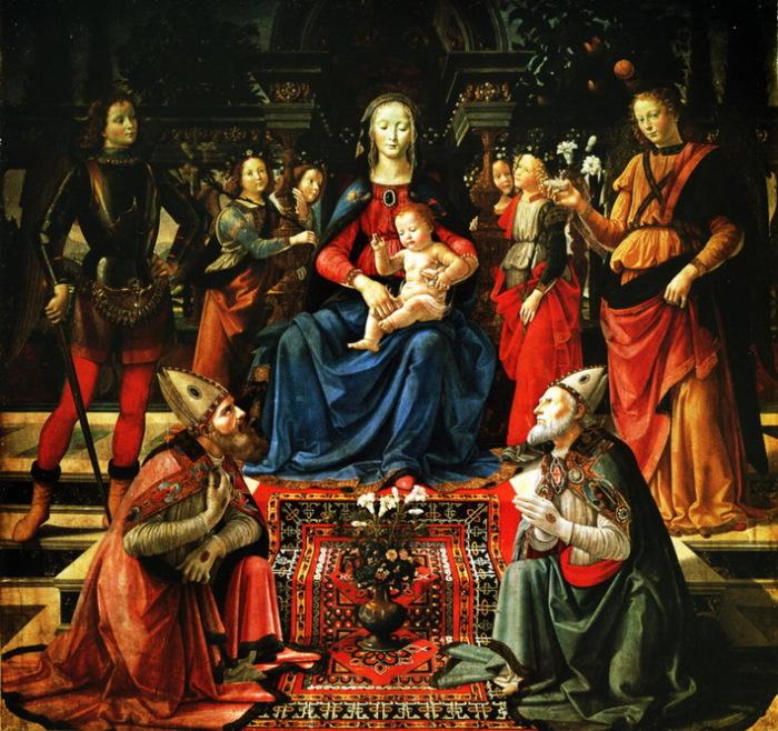 Д. Гирландайо. Мадонна с младенцем, святыми Юстом и Зиновием, архангелами Михаилом и Рафаилом. 1480-1490.<br>Руки епископов облачены в перчатки, положенные сану