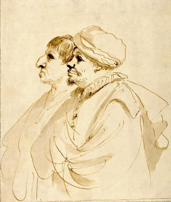 Гверчино. Двое мужчин в профиль. Карикатура
