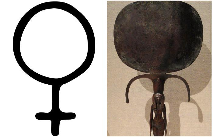 """Знак женского пола, """"зеркало Венеры"""", восходит к традиционной форме античных зеркал"""